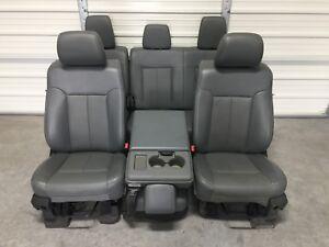 1999 2016 Ford F250 F350 F450 Super Duty Front Rear Seats Gray Vinyal