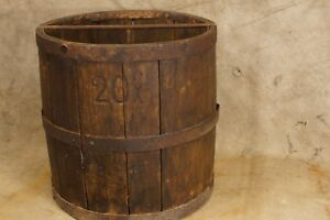 Antique Wood Wrought Iron Grain Measure Barrel Marked Anchor Ra 20