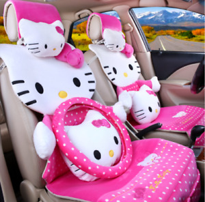 New Hello Kitty Car Seat Covers Steering Wheel Cover Head Restraint 19pcs