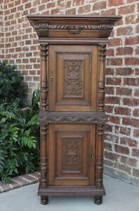 Antique French Oak Renaissance Jewelry Lingerie Cabinet Chest Interior Drawers