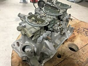 1970 340 Six Pack Holley Carburetors Intake Manifold Aar Cuda T A Challenger
