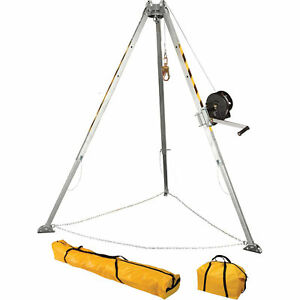 Falltech 7507 Confined Space Tripod Kit Adjustable 8 Aluminum Lot Of 1