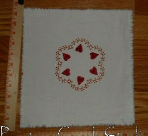 Valentine Heart Wreath Embroidered Candle Mat Approx 11 Square