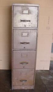 Vintage Industrial File Cabinet 4 Draw Machine Age Steam Punk Heavy Metal