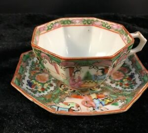 Antique Chinese Export Octagon Cup Saucer Famille Rose Medallion 22k 1890 1915