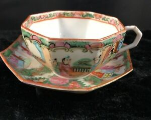 Antique Chinese Export Octagon Cup Saucer Famille Rose Medallion 22k 1915