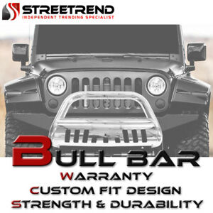 Stainless Hd Chrome Bull Bar Bumper Grill Grille Guard 08 10 Jeep Grand Cherokee