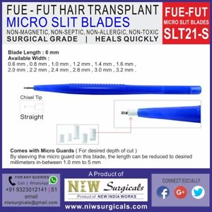 Fue Fut Hair Transplant Micro Slit Blades Straight 0 8 Mm Id Ss 25 Unit Pack