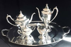 Antique Reed Barton Art Deco Sierra Silverplate Coffee Tea Set With Tray