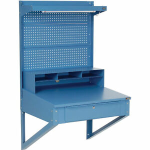 Shop Desk Wall Mount With Pegboard Riser 34 1 2 w X 30 d X 61 h Blue Lot Of 1