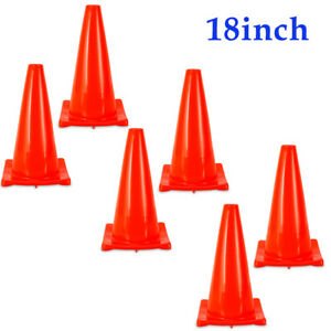 6 Pack 18 Height Traffic Cones Multi Purpose Reflective Safety Cone Fluorescent