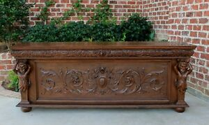 Antique French Neo Gothic Oak Marriage Chest Coffer Blanket Box Bench Free Ship