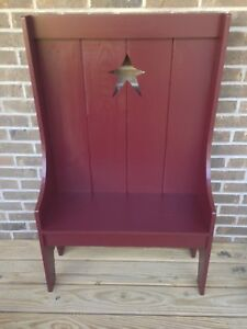 Beautiful Handmade Primitve Country Rustic Hearthside Doll Highback Star Bench
