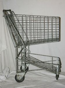 Vintage 1950 s Metal Grocery Store Shopping Cart All Original
