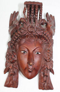 Antique Asian Carved Wood Glass Eyes Vintage Mask Womans Face Birds China D9