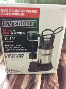 Everbilt 1 3 Hp Submersible Water Sump Pump Electric St less Steel 1000 026 686