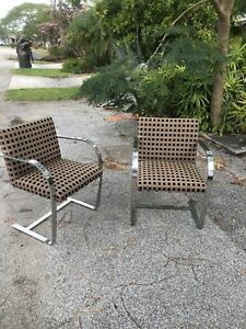 Pair Of Bruno Flat Steel Upholstered Chairs