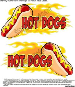 Hot Dogs 2pc Set Flaming Concession Trailer Fair Food Truck Cart Vinyl Decals