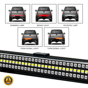 60 Triple Led Tailgate Bar Sequential Turn Signal Amber Pick Up Brake Light New