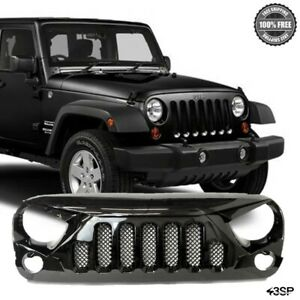 Angry Skull 2 Front Replacement Gloss Black Mesh Grille For 07 18 Jeep Wrangler