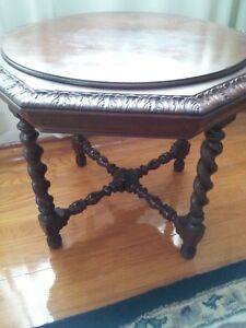 Vintage Octagonal Walnut Side Table With Fitted Glass Top