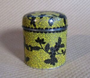 Early 20th Cent Antique Chinese Cloisonne Box Round Can Tea Opium Tobacco 4