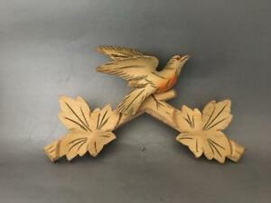 Shabby Vintage Chic Hand Carved Wood Bird Leaves Plaque Mount Pediment