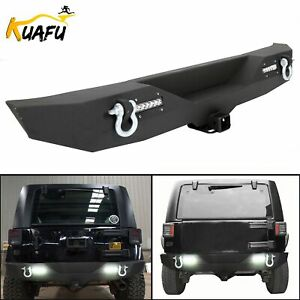 Textured Rear Bumper W D Ring 2 Receiver Led Light For 07 18 Jeep Wrangler Jk