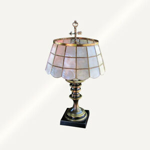 Antique Arts Crafts Table Lamp With Mica Shade Inv5349