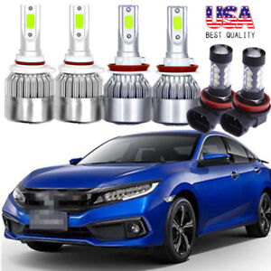 6x Cob Combo Led Headlight Kit Hi Low Fog Light Blue For Honda Civic 2016 2018