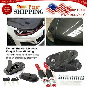Racing Car Bonnet Hood Pin Plus Flush Mount Quick Latches Lock Clip Bumper Kit