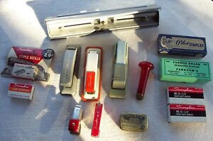 Vintage Lot Office Collectables Paper Punch Drill 3cub 2mini Staplers Staples