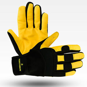 Real Leather Working Gloves Medium Size 8 Cargo Lorry Driving Carpenter Builder