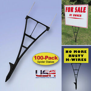 Outdoor Sign Stakes 100 pack High Density Plastic Corrugated Sign Holder