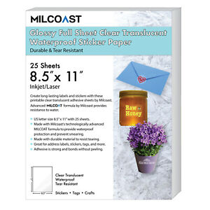 Milcoast Glossy Full Sheet 8 5 X 11 Clear Translucent Waterproof Adhesive