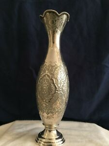 Magnificent Antique Islamic Qajar Persian Solid Silver Vase Signed