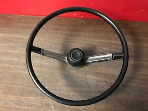 1968 Plymouth Fury 3 Steering Wheel W Horn Button Black 119