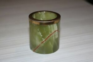 Vintage Art Deco Nouveau Green Onyx Jar With Gold Colour Rim Garniture 5cm H 4 5