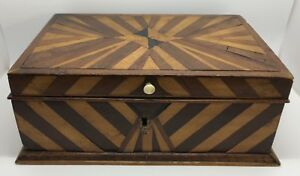 Antique Primitive Hand Crafted Inlay Wooden Sewing Or Jewelry Box Rf907