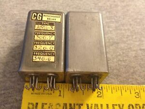 Pair Of Vintage Cg Resonant Relays Arh 3 Sealed Solder Hooks Nos