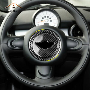 For Mini Cooper R55 R56 R60 R61 Carbon Fiber Steering Wheel Sticker Cover Trim
