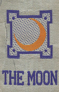 Vintage Antique Early 1900s Woven Silk Use In Crazy Quilt Zodiac The Moon
