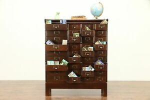 Oak Antique 1900 Stacking 36 Drawer Collector File Cabinet Made By Globe 30420