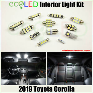 For 2019 2020 Toyota Corolla White Interior Led Light Accessories Package Kit 8x
