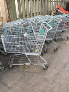 Lot Of 39 Large Wire Frame Metal Grocery Shopping Carts priced At 25 00 Each