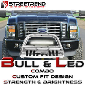 Stainless Bull Bar Bumper Guard W 120w Cree Led Fog Light For 98 11 Ford Ranger