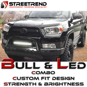 Black Hd Bull Bar Brush Bumper Guard W 120w Cree Led Fog Light 98 11 Ford Ranger