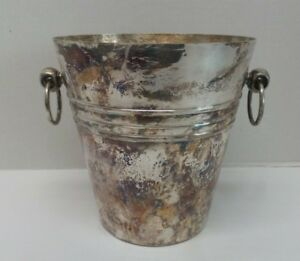 Vintage French Silverplate Ice Bucket Ring Handles France Hallmarks