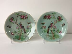 Pair Antique 19th C Chinese Celadon Famille Rose Plates Dish Qing
