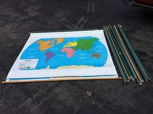 5 First Learner Nystrom 65 X 53 World Us Pull Down School Maps Very Good